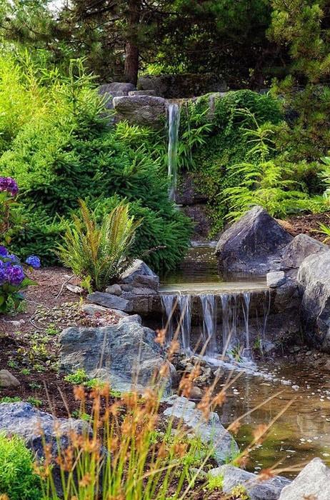Beautiful garden waterfall feature
