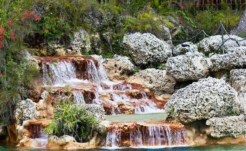 Decorative waterfall in a garden