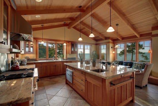 White Wash Craftsman Style Kitchen Cabinets
