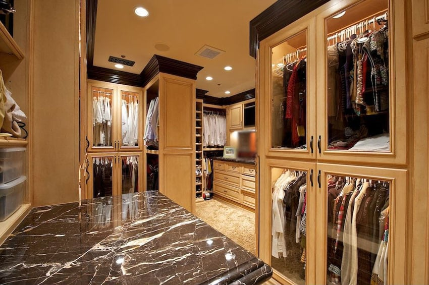 Superieur Custom Wood Walk In Closet With Dark Marble Island