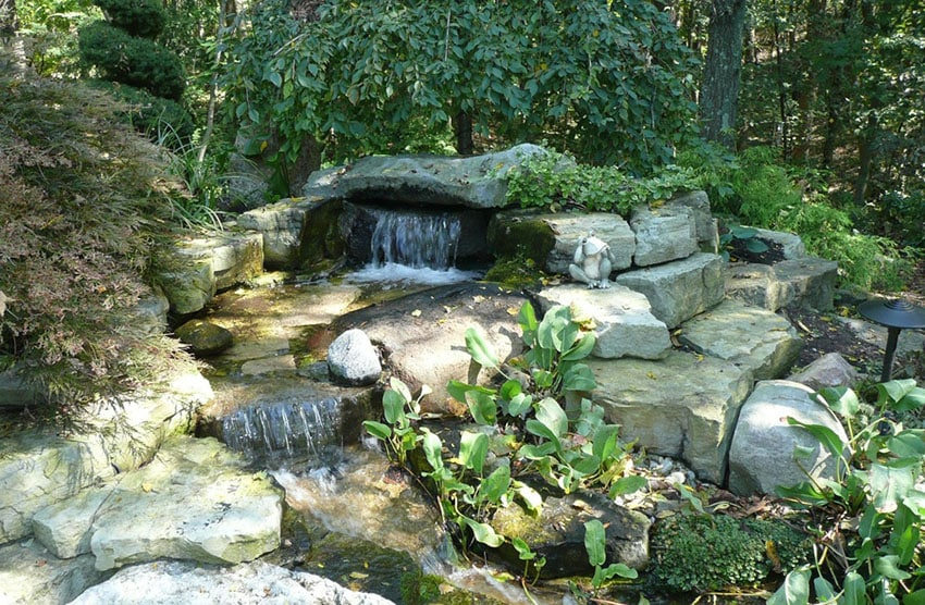 Large stone water fall and stream