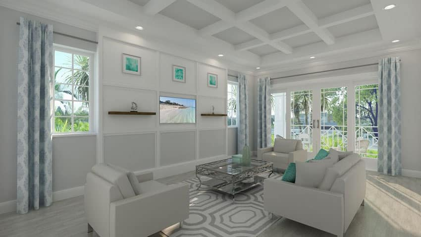 Contemporary living room with box ceiling and white furniture