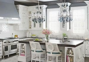 contemporary-luxury-kitchen-with-hanging-crystal-chandeliers-and-breakfast-bar-island