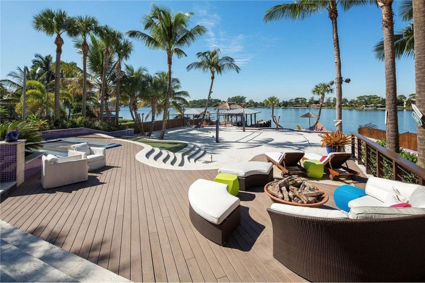 Custom deck design with palapa and water views