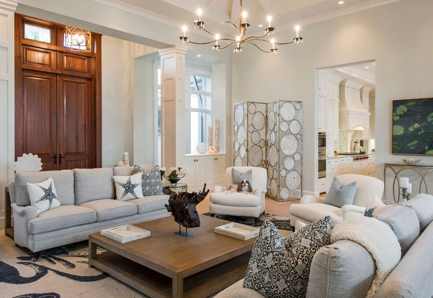 Decorated cottage style living room with neutral color theme