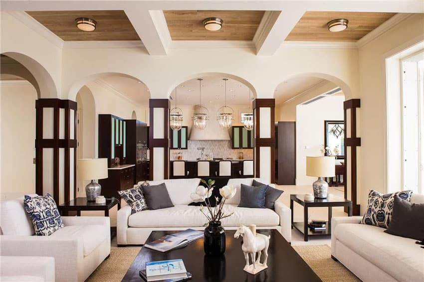 Living room with three square tray ceilings