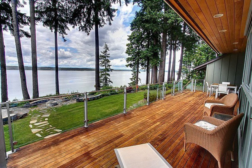 Lake view deck with glass railings