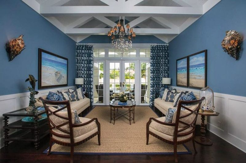 Yellow And Navy Dining Room Decor