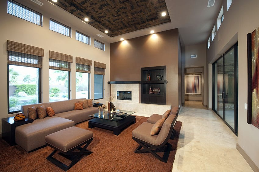Living room with high tray ceiling