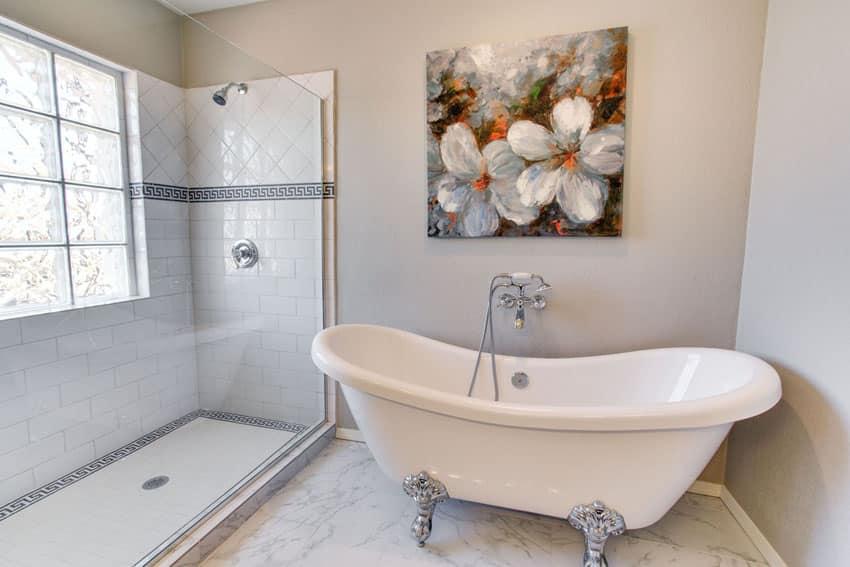 Traditional bathroom with rosalind acrylic clawfoot tub