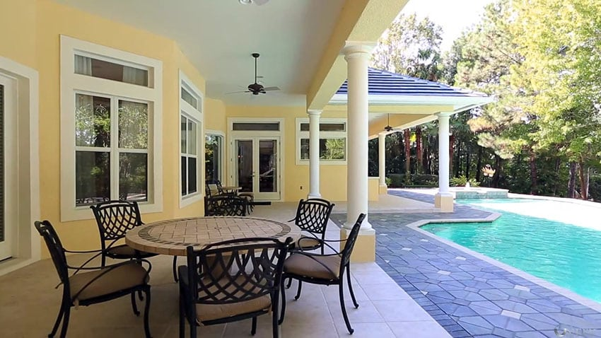 Backyard pool patio with outdoor furniture set