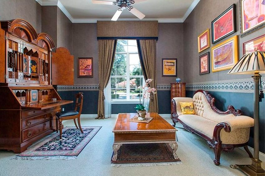 Home office with Victorian style chaise lounge