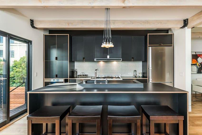 Modern kitchen with satin nickel 7 light chandelier and mazama hardwood flooring