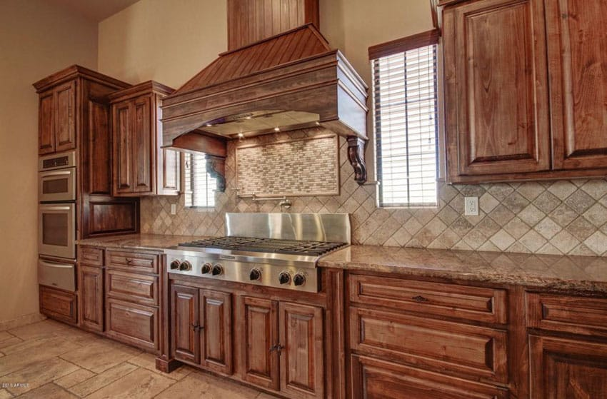 Craftsman one wall kitchen with raised panel cabinets and african ivory granite counters