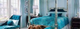 beautiful-teal-color-bedroom-with-chaise-lounge-bed-seat-and-silver-mirrored-four-post-bed
