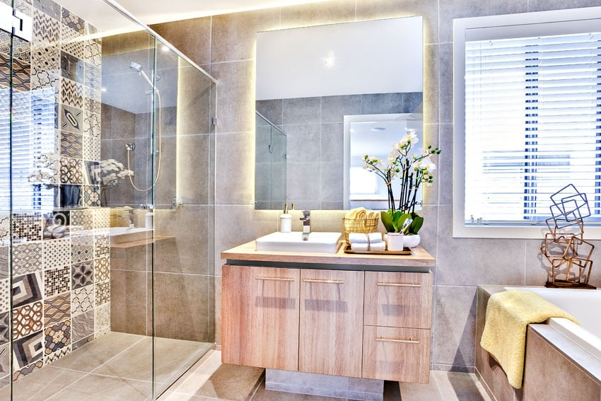 Modern bathroom with brown and white tile