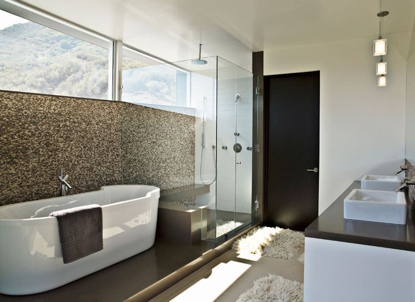 Modern bathroom with gold mosaic tile