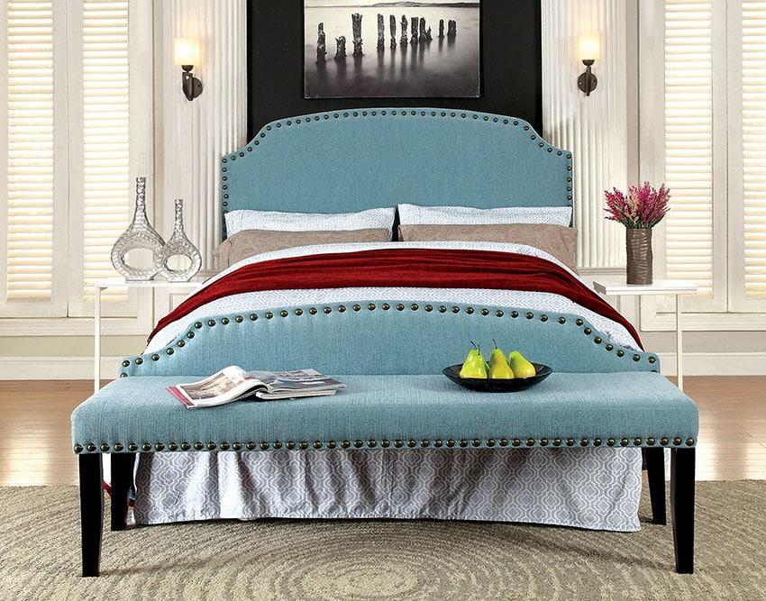 Teal bedroom bench millersburg upholstered fabric