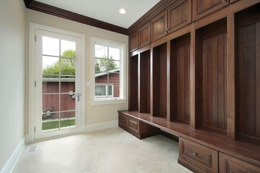 Built in wood mudroom cabinet