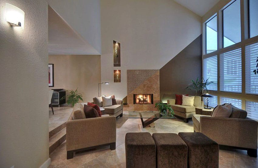 Contemporary living room with sunken floor and high ceilings