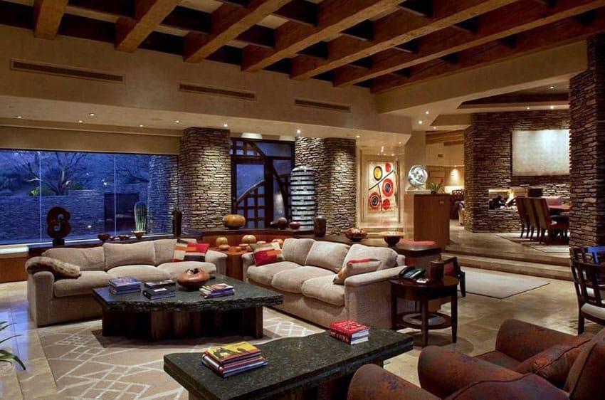 Contemporary living room with sunken floor plan