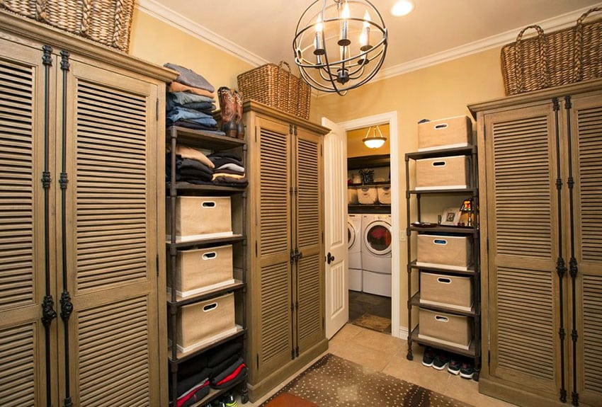Contemporary mud room with storage cabinets and bin shelving