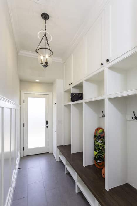 Mudroom white storage cabinet and bench