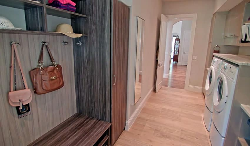 Mudroom with laundry and storage