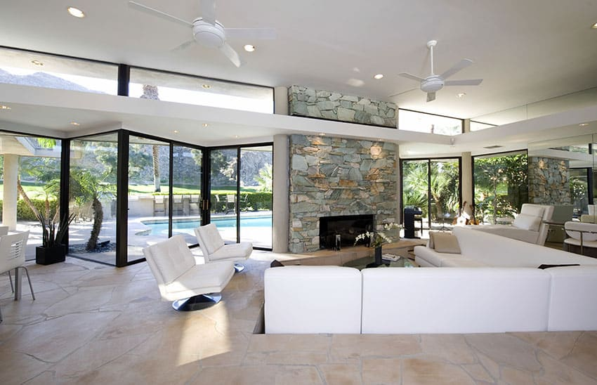 Sunken Living Room With Fireplace And Modern Furniture