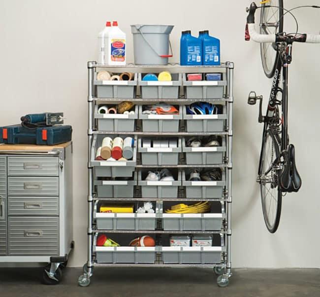 Commercial storage bin rack for garage