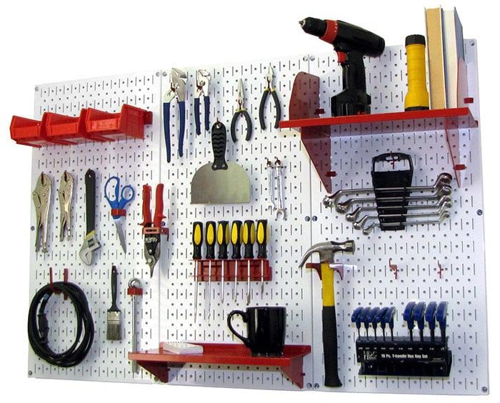 Garage pegboard tool storage kit