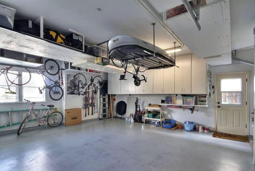 Garage with bike storage and overhead racks