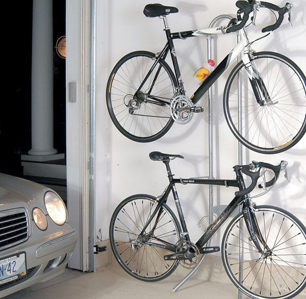 Garage with gravity stand bike rack