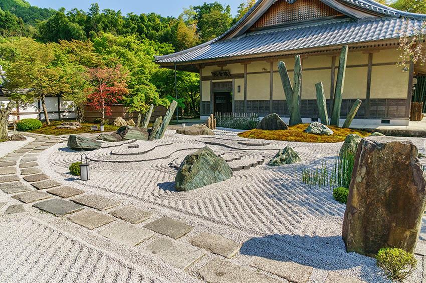 Japanese backyard rock garden landscape with stone steps walkway