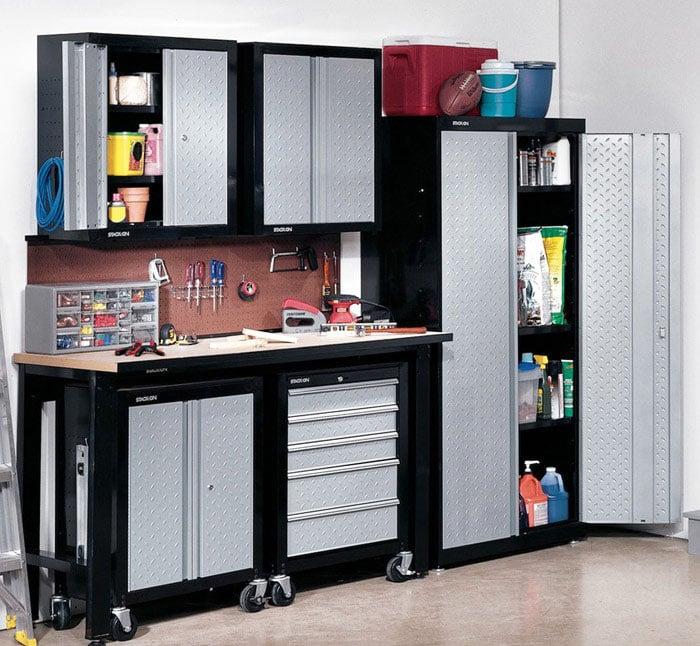 Metal garage storage cabinet set