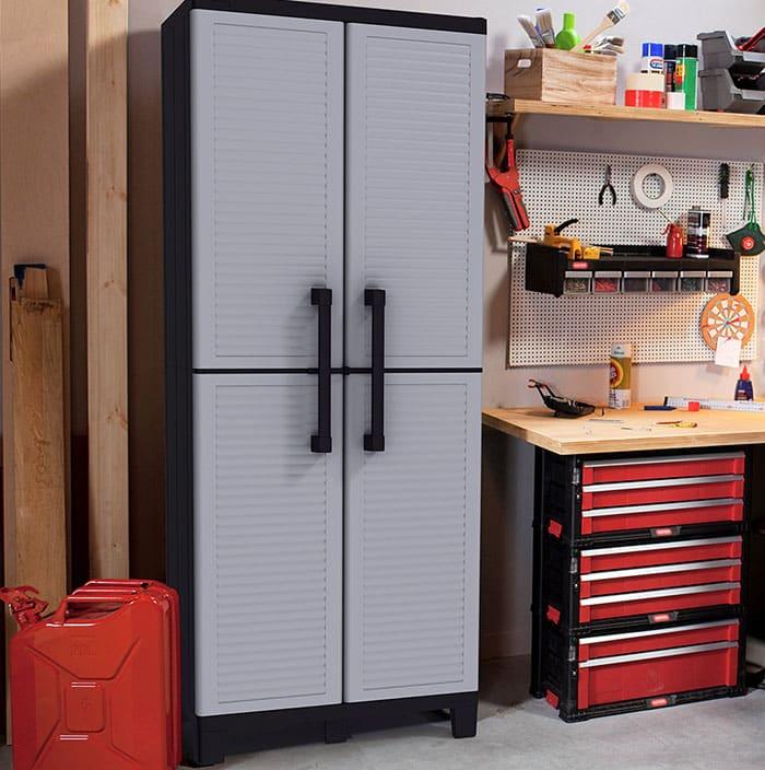 Tall plastic garage storage cabinet