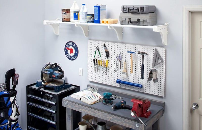 White garage shelving kit