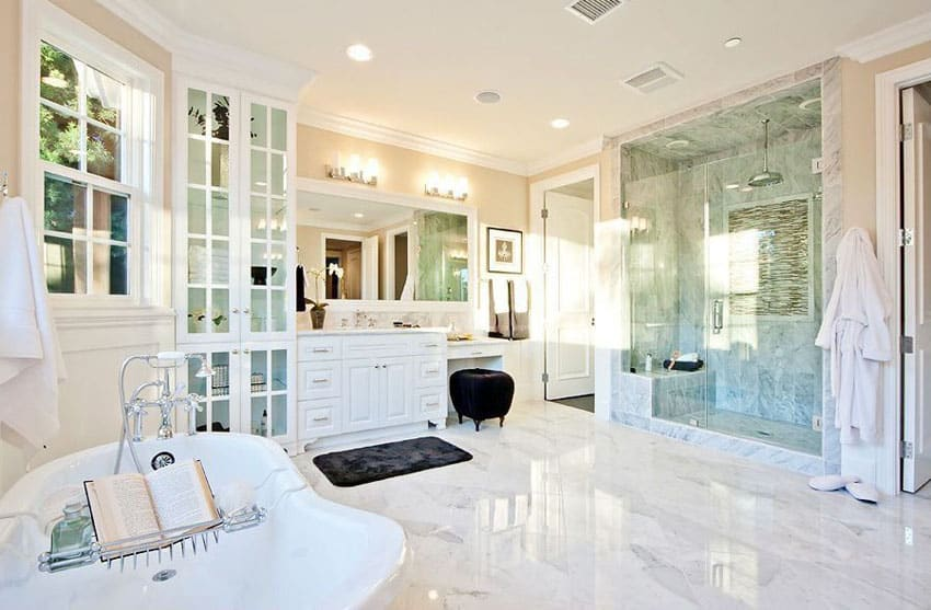 White marble bathroom with soaking tub