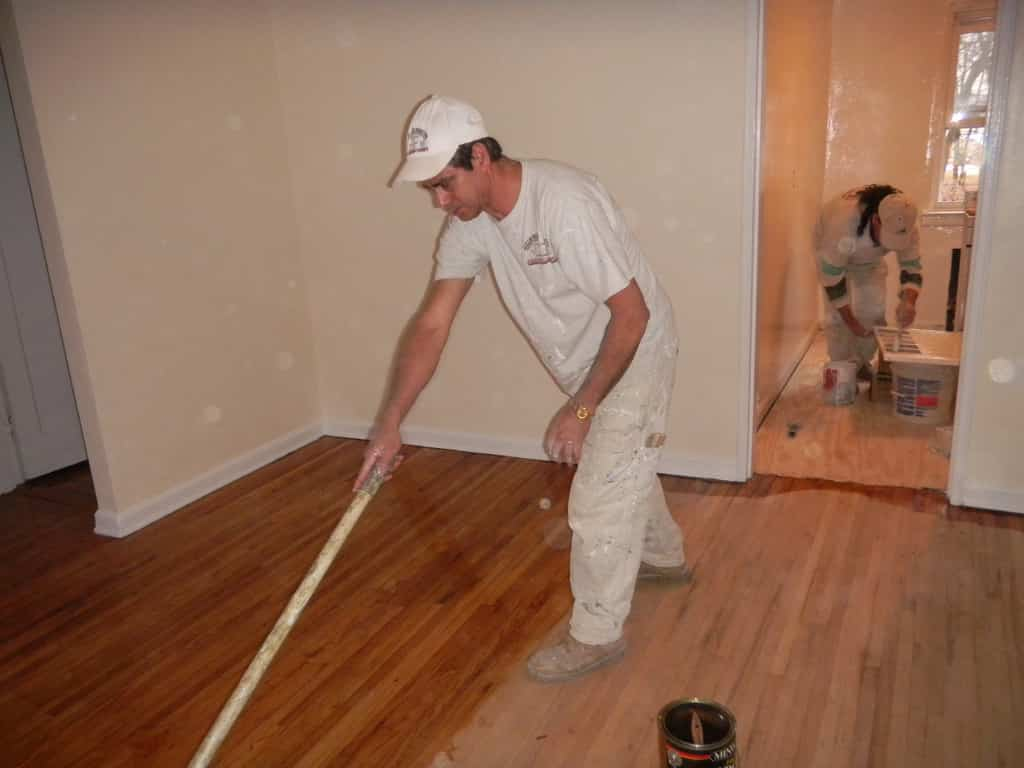 Staining wood floor with poly coating