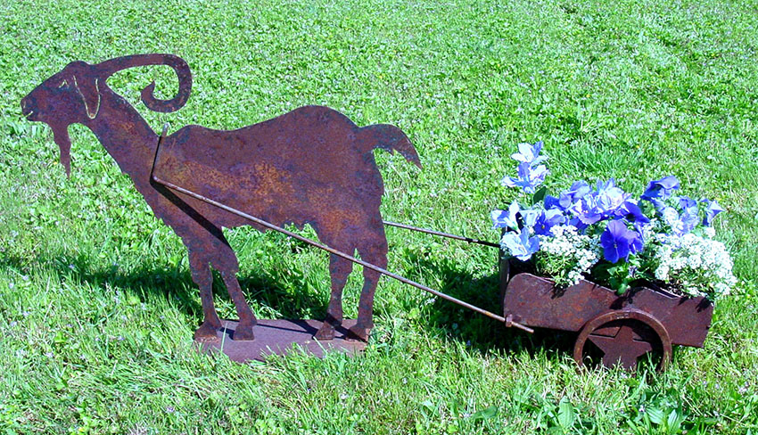 Metal wagon flower planter