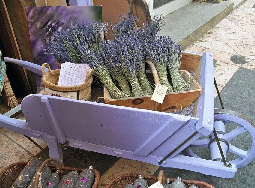 Purple decorative wheelbarrow for store display