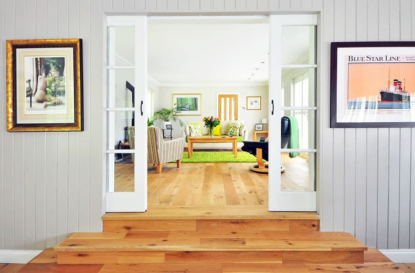 Wood floor entry in to living room