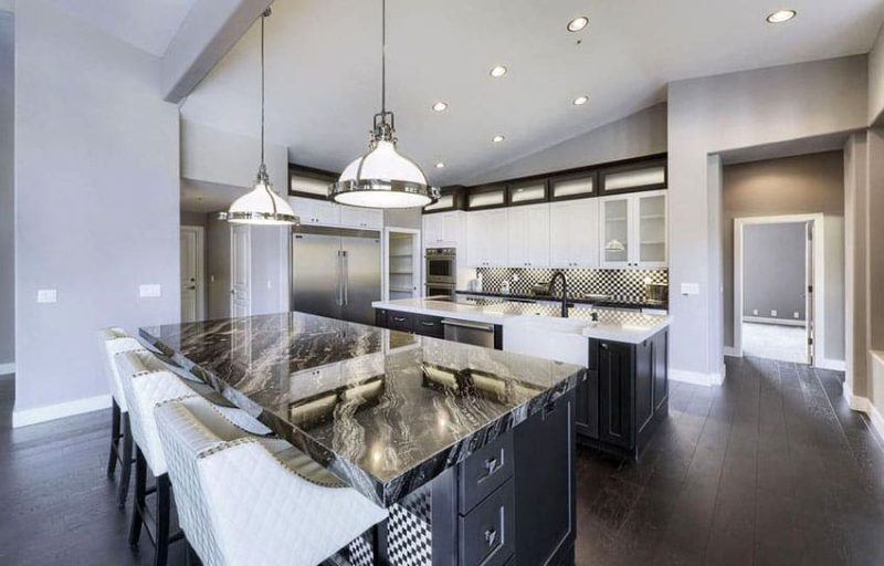 Harmony Gold Granite With White Kitchen Cabinets