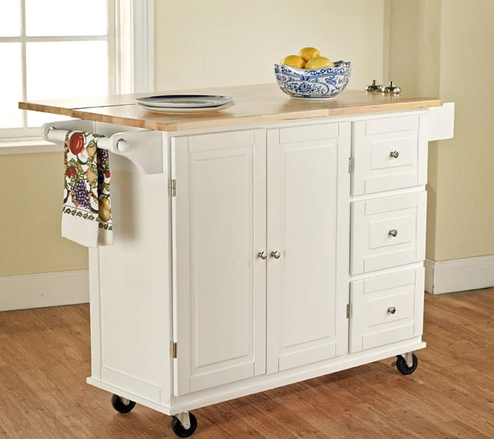 Portable kitchen island with wood countertop