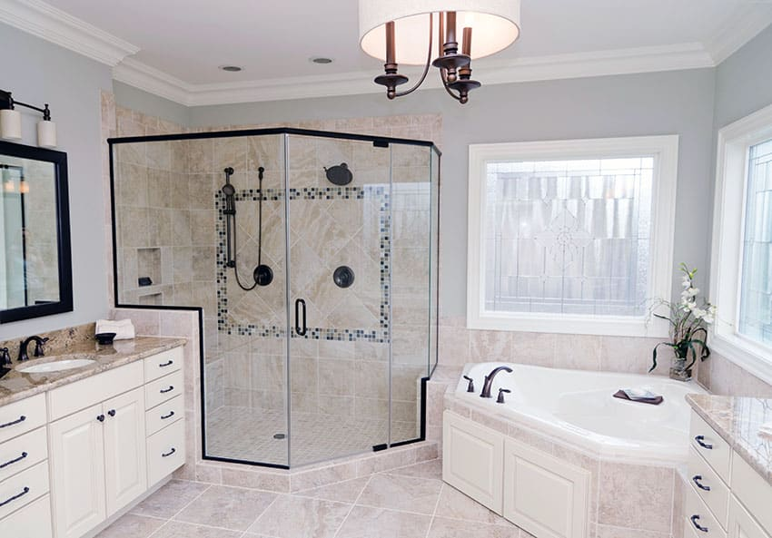 Bathroom with framed shower door
