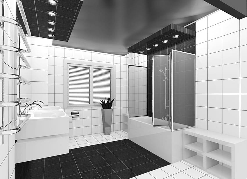 White and black bathroom with bi fold shower doors