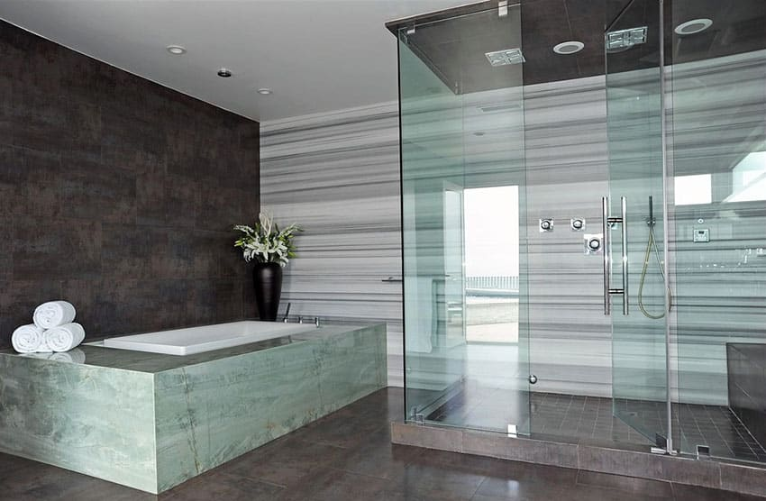 Contemporary master bathroom with hinged shower door