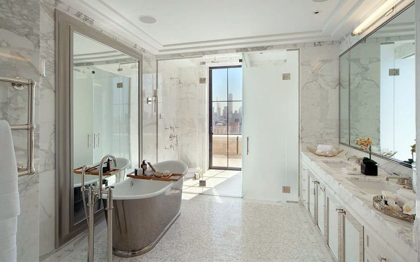 Luxury master bathroom with frameless shower and frosted glass
