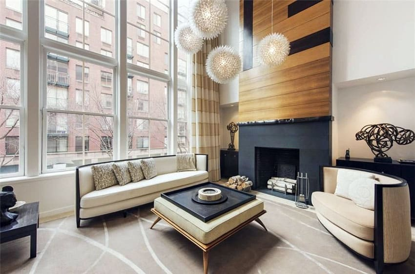 Modern zen style living room with wood accent wall fireplace globe lighting beige furniture & Zen Decor Ideas (Calming Room Styles) - Designing Idea