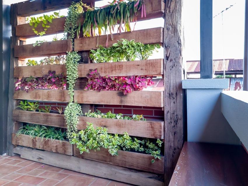 Rustic wood pallet garden planter